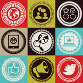 Set with vector round retro labels with social media and interne — Stock Vector