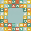 Vector frame with social media icons — Vector de stock