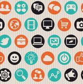 Naadloze patroon met internet pictogrammen — Stockvector