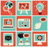 Vector icons de marketing sur internet — Vecteur