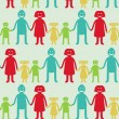 Vector seamless pattern with kids and parents — Stockvektor