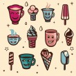 Vector set with ice cream and cups — 图库矢量图片