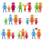 Vector iconos familiares - felices padres con niños — Vector de stock