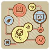 Concetto di social media vettoriale con icone di internet — Vettoriale Stock