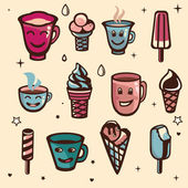 Vector set with ice cream and cups — Stock Vector