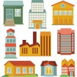 Stock Vector: Vector set with buildings icons
