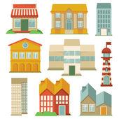 Vektor med byggnader ikoner — Stockvektor