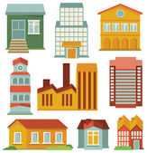 Vector set with buildings icons — Vecteur