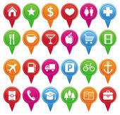 Vector marcadores para el mapa y plan de — Vector de stock