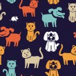 Seamless pattern with funny cats and dogs - Vektorgrafik
