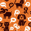 Постер, плакат: Seamless pattern with funny cats and dogs
