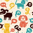 Stock Vector: Seamless pattern with funny cats and dogs