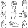 Vector set of hand and gestures — Stock Vector