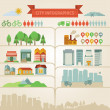 Elements for infographics about city and village - Stock Vector