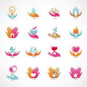Vecteur sertie de signes d'amour et de soins — Vecteur