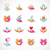 Vector set with signs of love and care — 图库矢量图片