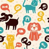 Komik kediler ve köpekler ile seamless modeli — Stok Vektör