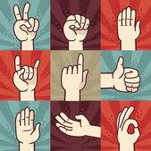 向量组的手和手势 — 图库矢量图片