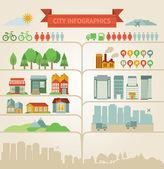 Elementos para infográficos sobre a cidade e a aldeia — Vetorial Stock