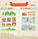 Elements for infographics about city and village — Vector de stock