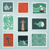 Vector set with stamps and sea design elements — Stock Vector