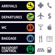 Icons and pointers for navigation in airport — Imagen vectorial