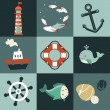 Vector set with nautical design elements — Stock Vector