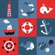 Stock Vector: Vector set with nautical design elements