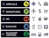 Icons and pointers for navigation in airport — Stockvector