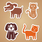 Vector funny dogs and cats — Stock Vector