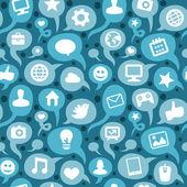 Modello senza saldatura vettoriale con icone social media — Vettoriale Stock