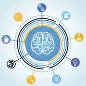 Vektör eğitim kavramı - beyin ve bilim simgeler — Stok Vektör
