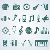 Vector set van muziek iconen — Stockvector