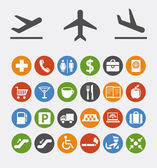 Icons and pointers for navigation in airport — Vettoriale Stock