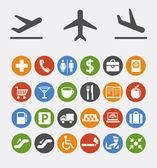 Symbole und hinweise für die navigation in flughafen — Stockvektor