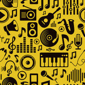 Vector music seamless pattern with icons — Stock Vector