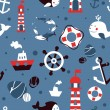 Vector seamless pattern with sea icons - Stock Vector