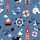 Vector seamless pattern with sea icons — Stock Vector