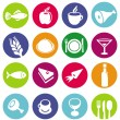 Vector set or restaurant icons and food - 图库矢量图片
