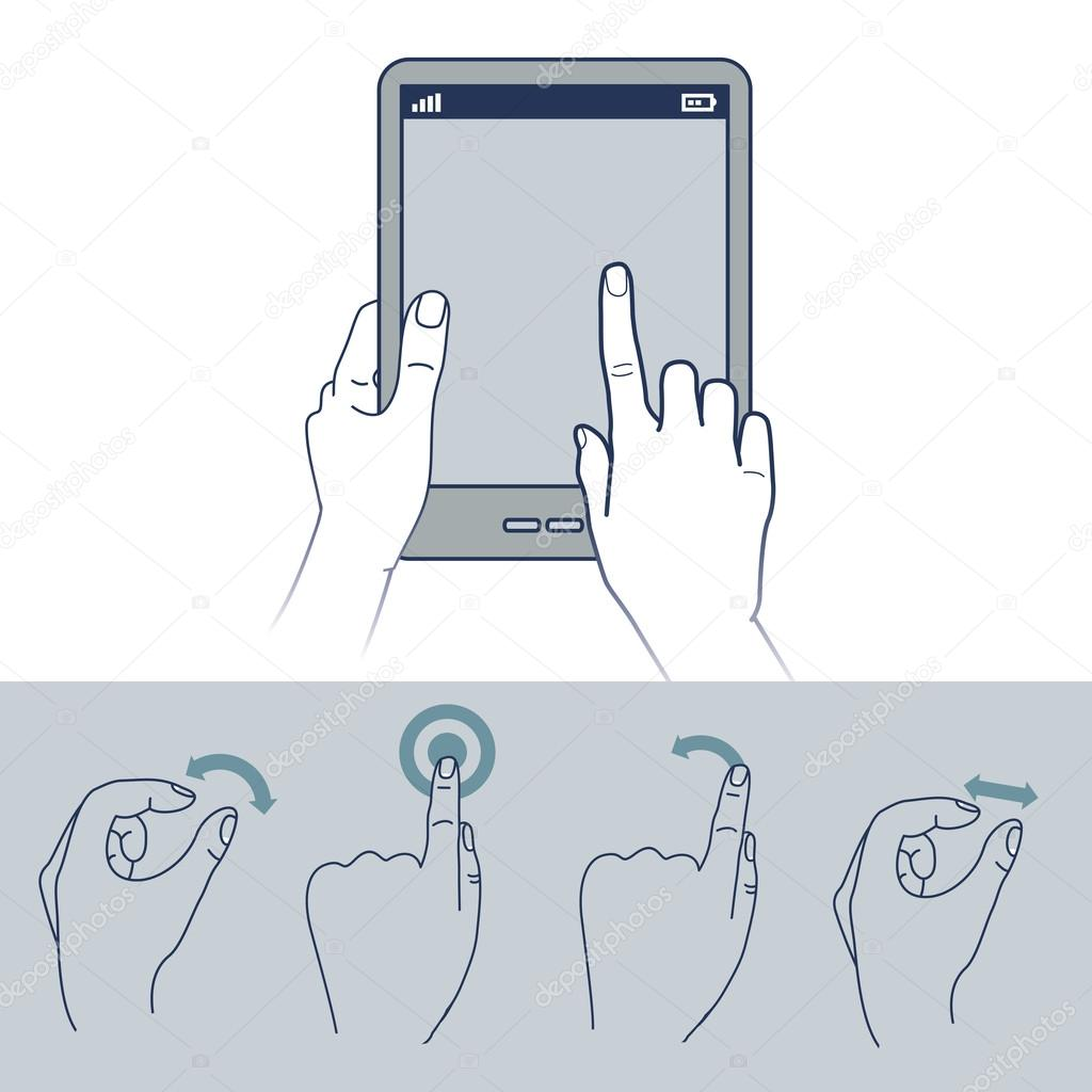 Vector hand icons - touchscreen interface illustration — Stock Vector #14832425