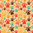 Постер, плакат: Vector seamless pattern with animal paws