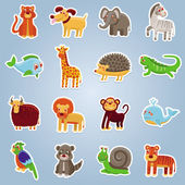 Vector collection with 16 cartoon animals — Stock Vector