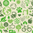Green seamless pattern with ecology signs — Vector de stock #15402175
