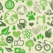 Green seamless pattern with ecology signs — Imagen vectorial