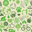 生態学の兆候と緑のシームレスなパターン — ストックベクタ