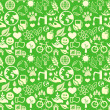 Green seamless pattern with ecology signs — Vector de stock