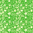 Green seamless pattern with ecology signs — ストックベクタ