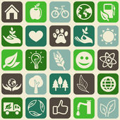 Seamless pattern with ecology signs and symbols — Vecteur