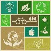 Vecteur des étiquettes rétro avec signes d'écologie — Vecteur