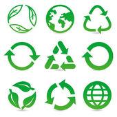 リサイクル サインとシンボルでベクトル コレクション — ストックベクタ